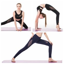 pantaloni yoga pura Sconti Due pezzi di abbigliamento da yoga per fitness da donna Maglia trasparente Reggiseno aperto Casual Leggings stretti selvatici Set di yoga di fascia alta Sport Cime e pantaloni da corsa