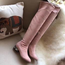 2019 leder pvc stiefel frauen über knie 22Branded Frauen Lederborte Knot Overknee-Stiefel Entwerfer-elastischer Stoff mit echtem Leder-Schenkel-Hohen Stiefeln rabatt leder pvc stiefel frauen über knie