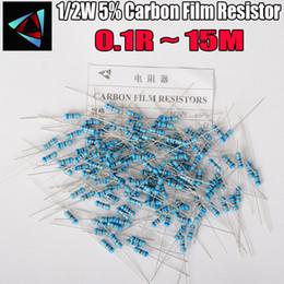 50 pcs 1/2 W Resistência do Filme de Carbono 5% 0.1R ~ 15 M 1 2 10 22 47 100 330 ohm 1 K 4.7 K 10 K 22 K 47 K 100 K 330 K 470 K 0.22 0.33 0.47 0.68 de