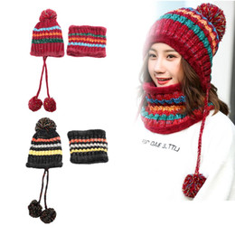2287630d503 Female Autumn Winter Thick Wool Knit Warm Hat +collar Sets Plus Velvet  Padded Earmuffs Cycling Beanies Scarf Suits Girls Cap