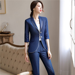 4c00e4701c9e Uniform Styles 2019 Spring Summer Business Suits With Blazers & Jackets And  Pants Half Sleeve Women Pants Suits Female Sets