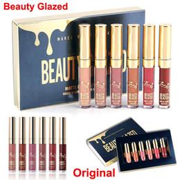 Kit de esmalte on-line-6 pçs / set Matte Batom Líquido Não Desbotada Beleza Líquido Glazed Lip Gloss Hidratante Edição de Aniversário Batons Maquiagem Lip kit livre DHL
