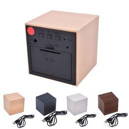 elettronica di visualizzazione Sconti LED Alarm Clock LED Display Electronic Desktop Orologi da tavolo digitali Wooden Digital Alarm Clock Controllo vocale USB Horloge