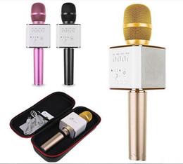2019 karaoke del microfono del mp3 Q7 Bluetooth microfono senza fili tenuto in mano portatile KTV Karaoke Player altoparlante con il MIC altoparlante per iPhone 7 Plus Samsung S7 Bordo karaoke del microfono del mp3 economici