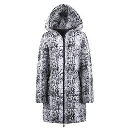 die frauen sind aufgedruckt Rabatt Womens Coat Winter Long Down Baumwolle Snake Print Parka Kapuzenmantel Jacke Outwear Abrigos De Mujer