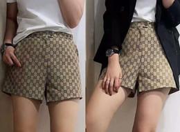 2019 nuevas mujeres con logotipo de la letra jacquard pantalones cortos sueltos de algodón de alta cintura más el tamaño S M L desde fabricantes