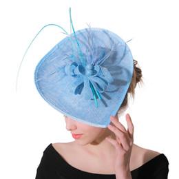 I capelli delle donne Fascinators per i cappelli di matrimoni donne elegante derby partito tè piuma copricapo fasce accessori per capelli da sposa cheap hats fascinators for weddings da cappelli fascinatori per matrimoni fornitori