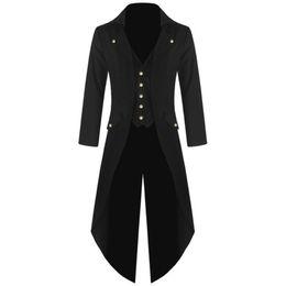 Casaco de dovetail on-line-Retro clássico Homens Coats Vapor Punk Tuxedo Gentleman Jackets Suits Homens negros de Prom Party Dovetail Windbreaker Plus Size 4XL 2018