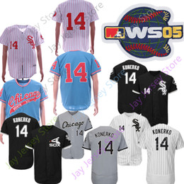 Jersey di konerko online-Personalizzato Chicago 14 Paul Konerko Jersey 2005 World Series White Sox Maglie Cooperstown Cool Base Flexbase Home Away Uomo Donna Gioventù