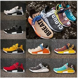 black red weaves Promo Codes - NMD Human Race Running Shoes With Box Pharrell Williams Weaving Canvas Sports Shoes Designers Shoes Men Women Outdoor Sneakers Wholesale