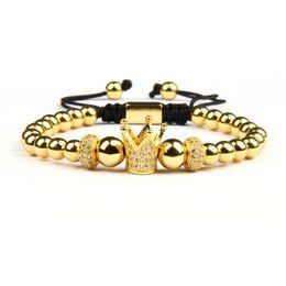 2019 artiglio halloween New Luxury Clear Cz Cylinders Crown Braiding Men Bracelet all'ingrosso 6mm Top Quality Brass Beads Party Gift Jewelry sconti artiglio halloween