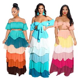 2019 праздничные шифоновые платья Summer Women's Chiffon Dress Two-piece Sets Sexy Wrap Chest Ruffles Backless Lace Up Multicolor Top+long Skirt Vacation Dresses дешево праздничные шифоновые платья