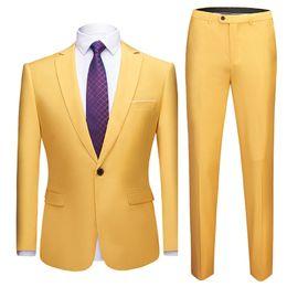 Amarillo Slim Fit traje de un solo botón Hombres fiesta de bodas Prom trajes para hombre formal de negocios informal traje de 2 piezas (chaqueta + pantalones) para hombres desde fabricantes
