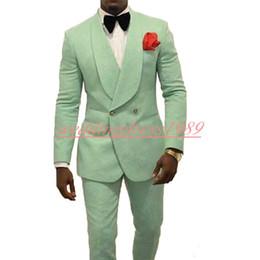 Yeşil Plaj Rahat Iş Erkek Damat Smokin Takım Elbise Best Man Damat Resmi Takım Elbise Düğün Smokin Takım Elbise Groomsmen Takım Elbise (Ceket + Pantolon) nereden erkekler için plaj düğün smokokları tedarikçiler