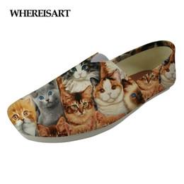 sapatas de lona do gato Desconto WHEREISART Animal Cat Dog Padrão Marca Mulheres Sapatos Flats Bonito Moda Meninas Canvas Casual Loafers Amante Lazy Conforto Andando