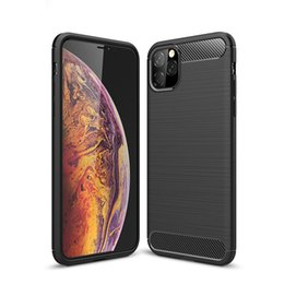 Celular de carbono on-line-Capa de celular em fibra de carbono para iPhone 11 Pro Max XS Max XR 8 7 6 Plus TPU À prova de choque
