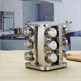 portabiciclette Sconti 12-Jars bottle Canister Cucina girevole Countertop Spice Square Organizer Rack, condimento in acciaio inox Storage Tower Holder Organizzazione