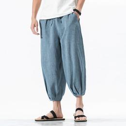5cc38c11a9380 pantalons de survêtement 2019 été pieds rétro pantalon de lin en vrac hommes  section mince coton rayé jeunesse casual long streetwear Noir Gris  abordable ...