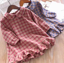 0f59effb18e3 maniche lunghe vestito blu lolita Sconti Ragazze plaid dress bambini  bambola risvolto manica lunga falbala vestito