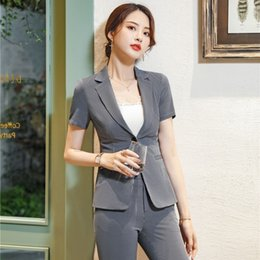 a464c6cc497a Summer Formal Ladies Grey Striped Blazers Women Jackets Short Sleeve  Business Clothes Work Wear Office Uniform Styles