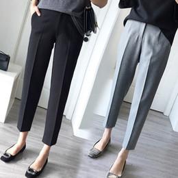 2019 pantalon de costume noir convient aux femmes Striaght Pour Les Femmes Avec La Taille Haute Ol Bureau Vêtements De Travail Maigre Formelle Costume Noir Pantalon Femme Pantalon Plus La Taille 5xl 4xl Q190522 promotion pantalon de costume noir convient aux femmes