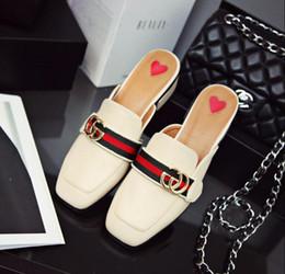 peep toe rose chaud talons hauts Promotion 2019 nouvel été femmes pantoufles de luxe designer de mode en cuir véritable mocassins chaussures chaîne en métal dames occasionnels mules appartements taille 34-43