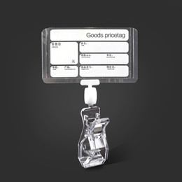 Doppia etichetta online-Chiaro plastica supermercato prodotti prezzo e nome segno bordo prezzo etichetta segno carta titolare con doppio lato pop clip