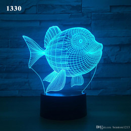 Fish 3D LED Night Light 7 Color Touch interruptor de luzes Led Plastic Lampshape 3D USB Powered Night Light Atmosfera Novidade Iluminação de Fornecedores de bateria da polícia