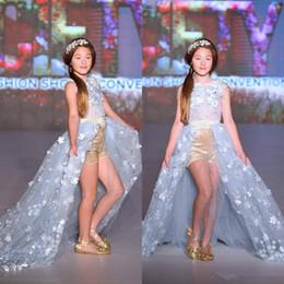 falda delantera abierta Rebajas Abrir delantera de la falda del desfile de vestidos para niñas apliques de flores vestido de la muchacha niños con cuentas de encaje floral Formal Wear Moda desfile de traje de tul vestido