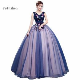 vente en gros robes de bal 2018 pas cher nouvelle v-cou dentelle appliques perles longue robe de soirée de bal marine bleu rose formelle ? partir de fabricateur