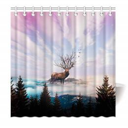 Canada Rideau de douche en tissu de polyester résistant à la moisissure, avec crochets, forêt, cerf, hautes montagnes, belle vue, 48 x 72 pouces cheap 48 x 72 shower curtain Offre