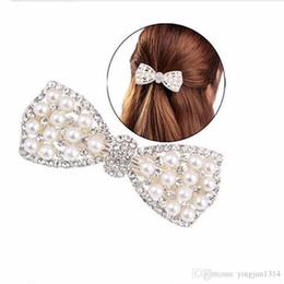 2019 casacos florais para casamentos Moda Feminina Meninas de Cristal Rhinestone Arco Grampo de Cabelo Beleza Hairpin Cabeça Barrette Enfeites de Cabelo Acessórios 2 pçs / lote