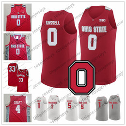 Personalizzato Ohio State Buckeyes # 0 Russell 1 Conley 4 Craft 22 Jackson Vintage NCAA Basket Rosso Bianco Grigio D'Angelo Mike Aaron Jim Jerseys da
