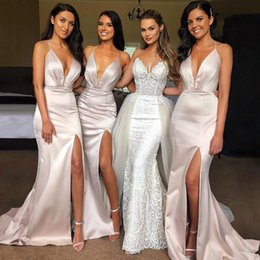 shiny mermaid wedding dresses Coupons - Elegant Sexy Spaghetti Straps Split Mermaid Long Bridesmaid Dresses Sheath Shiny Women Evening Dresses Wedding Guest Party Gowns BM0357
