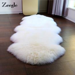 2019 esteras peludas Zeegle Shaggy Faux de piel de oveja alfombra para sala de estar sofá funda suave estera decoración del hogar siesta manta de piel mullida área alfombras esteras peludas baratos