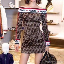 vestidos estampados de flores Rebajas De calidad superior 2019 Nuevo estilo de las mujeres Full F Design Girls Slash cuello vestidos de fiesta vestidos para mujer FF vestidos de suéter de hombro vestido de suéter