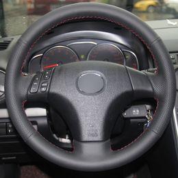 2019 velhas rodas de direção do carro Mão DIY costura Preto Genuíno Couro Do Carro Cobertura de Volante para Mazda Velho 3 Mazda 5 Mazda 6 2003-2009 velhas rodas de direção do carro barato