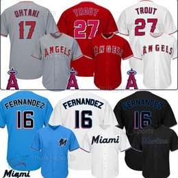 Mike truta beisebol jérseis on-line-Anjos 27 Mike Trout Los Angeles 17 Shohei Ohtani 16 Jose Fernandez Miami Jersey Marlins 27 Giancarlo Stanton homens Baseball Jerseys