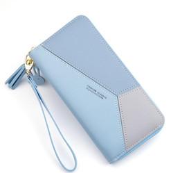 versione coreana del telefono mobile Sconti Donne del progettista della borsa della borsa Femminile lungo versione coreana cuciture colore Zipper grande capacità Denaro del telefono mobile Bag Borse Portafoglio carta