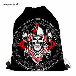 Nopersonality Kadınlar için İpli Çanta Punk Kafatası Baskı Kızlar İpli Sırt Çantası Bayanlar Seyahat Depolama Paketi kızın sırt çantası nereden