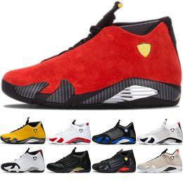 баскетбольные кроссовки размер 14 Скидка 14 14s 2019 Мужчины Баскетбол обувь Мужские Кроссовки Черный Toe Желтый Красный Thunder Спортивное Спортивные кроссовки Размер 41-47 На открытом воздухе