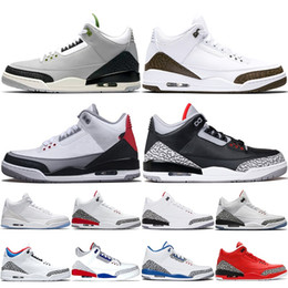 factory price 735f9 fe5d1 Nike Air Jordan 3 3s Retro Basketball Schuhe Männer Katrina Tinker JTH NRG  Schwarz Zement Freiwurf Linie Reinweiß True Blue Red Herren Athletisch  Trainer ...