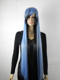 Mezcla de estilos de color de cabello online-ENVÍO GRATIS + + Estilo de moda Verde claro y negro, mezcla larga y recta gris peluca llena de cabello peluca cosplay anime