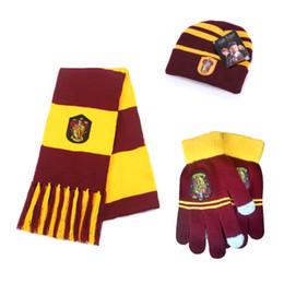 3 pezzi   set Harry Potter Sciarpe Sciarpe Hat Touch Gloves Grifondoro    Serpeverde   Tassorosso   Sciarpe Corvonero Cappello Guanti tattili Sciarpa  di ... 8ebb45c7ac1c