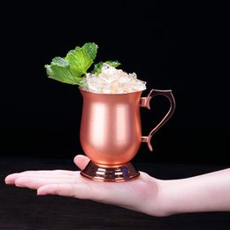 2019 verres à liqueur en acier Creative Mini tasse lisse Moscou mule Espresso Verres à liqueur Mignonnes tasses à cocktail en acier inoxydable de 2 oz | Ensemble de 4 mugs en cuivre verres à liqueur en acier pas cher