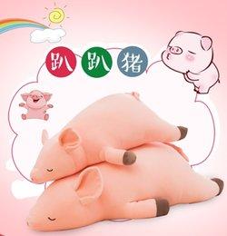 Suini rosa peluche online-Nuovo 40cm 50cm 60cm 70cm 80cm 100cm 120cm giù bambola di cotone maiale rosa dormire lungo cuscino peluche morbido bambola di stoffa bambola 500 pezzi