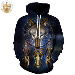 wolf art prints Coupons - Wolf Head Skull by Khalia Art Animal 3D Printed Men Hoodies Unisex Sweatshirts Brand Hoodie Pullover Jacket Outdoor Drop Ship