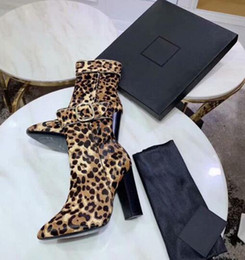 leopard hair shoes Promo Codes - Luxury Designer Womens Martin Short Ankle High Heel Autumn Winter Boots Leopard Print Horse Hair Brand Buckle Shoes Size 35-41