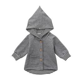 2018 nueva moda Recién Nacido Bebé Niño Niña Rayas Sudadera Con Capucha Cardigan Abrigo Ropa caída compras otc10 desde fabricantes