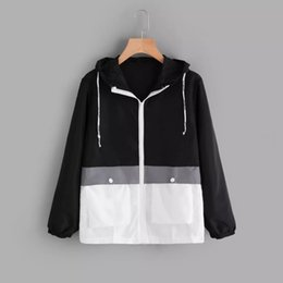 Argentina 2019 patchwork chaquetas de mujer rompevientos con cremallera sudaderas con capucha delgada moda casual prendas de abrigo chaquetas deportivas de primavera cheap zipper hoodie for women Suministro